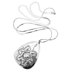 Vintage Kulik Kulikraft Sterling Silver Large Rose Flower Pendant Necklace