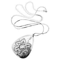 Vintage Kulik Kulikraft Sterling Silver Large Rose Flower Pendant Necklace