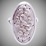 Vintage Kulik Kulikraft Hand Wrought Sterling Silver Rose Flower Oval Ring