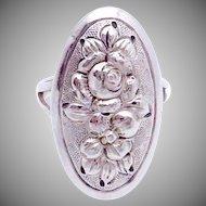 Vintage Kulik Kulikraft Hand Wrought Sterling Silver Rose Flower Oval Ring