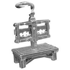Vintage CW Sterling Silver Moveable Stocks Dominatrix Charm Pendant