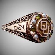 Vintage 10K Gold Peridot Pearl University of Oklahoma OU 1978 Class Ring