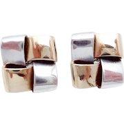 Vintage James Avery 14K Gold Sterling Silver Ribbon Pierced Earrings Showy