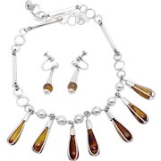 Vintage Taxco Mexican Sterling Silver Tiger Eye Drop Necklace Earrings