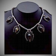 Vintage Taxco Mexico Mexican 980 Silver Carved Obsidian Necklace Fantastic