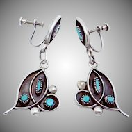 Vintage Zuni Southwest Sterling Silver Turquoise Dangle Earrings