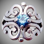 Vintage James Avery Sterling Silver Blue Topaz Spanish Lace Ring
