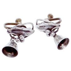 Vintage Taxco Mexican Mexico Sterling Silver Holly Bell Earrings