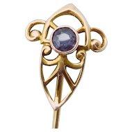 Antique Art Nouveau 14K Gold Gemstone Stickpin Stick Pin