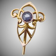 Antique Art Nouveau 14K Gold Gemstone Stickpin Stick Pin