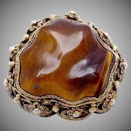 Vintage Chinese Sterling Silver Vermeil Tiger Eye Pin