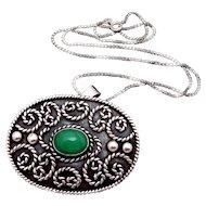 Vintage Los Ballesteros Taxco Mexican Sterling Silver Stone Pendant Necklace