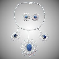 Vintage Taxco Mexican Sterling Silver Blue Stone Flower Necklace Earrings Set