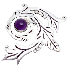 Vintage Maricela Taxco Mexico Mexican Sterling Silver Amethyst Large Pin