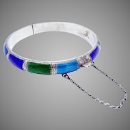 Vintage 1920s Siam Sterling Silver Colorful Enamel Bangle Bracelet