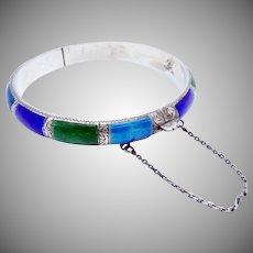 Vintage 1920s Siam Sterling Silver Colorful Enamel Bangle Bracelet