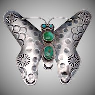 Vintage Navajo Sterling Silver Turquoise Hand Made Big Butterfly Pin