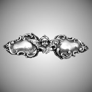 Victorian Art Nouveau Sterling Silver Cherub Angel Small Belt Buckle