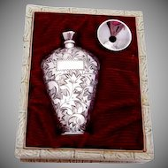 Vintage Japan Japanese 950 Silver Perfume and Funnel Original Box Beauty!