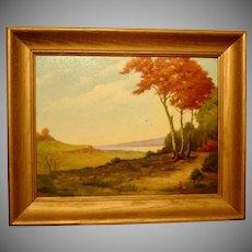 Vintage Hugo D Pohl Texas Regionalist Oil Painting Autumn Leaves