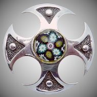 Vintage Scottish Sterling Silver Caithness Glass Millefiore Venetian Shield Pin