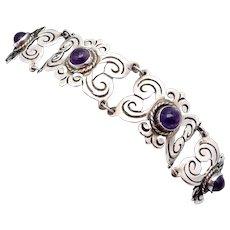 Vintage 1930s Taxco Mexican Sterling Silver Amethyst Wide Bracelet