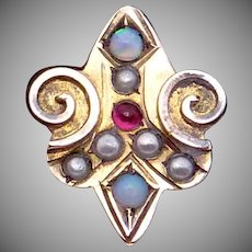 Antique Victorian Gold Filled Opal Garnet Seed Pearl Slide Charm Pendant