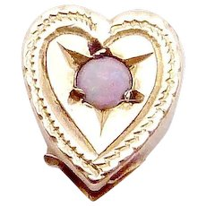 Antique Victorian 10K Gold Opal Heart Slide Charm Pendant