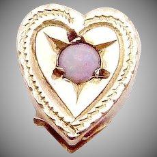 Antique Victorian 10K Gold Opal Heart Slide Charm Pendant