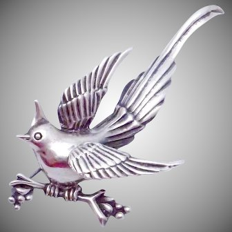Vintage Casa Prieto Mexico Mexican Sterling Silver Dimensional Bird Pin