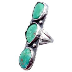 Vintage Navajo Southwest Sterling Silver Turquoise Large Bold 1940s Ring