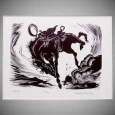 Vintage Kirk Martin Adios Bucking Bronco Cowboy Wood Cut Print 100/26
