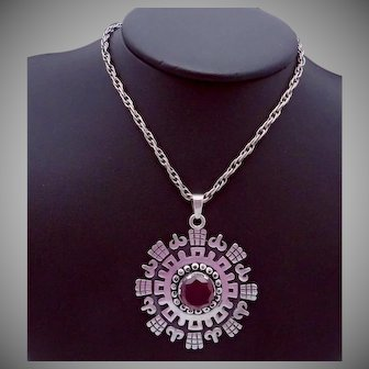 Vintage Beto Taxco Mexico Mexican Sterling Silver Red Gem Pendant Necklace