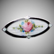 Victorian FA Hermann Sterling Silver Enamel Pink Rose Small Oval Pin