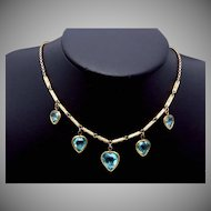 Antique Victorian Sturdy 12K Gold Filled Blue Faceted Glass Heart Necklace