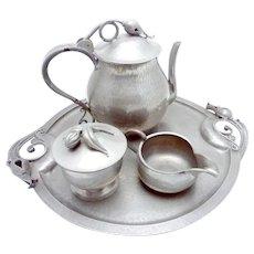 Vintage Serge Nekrassoff Hand Wrought Pewter Large Coffee Tea Set Platter