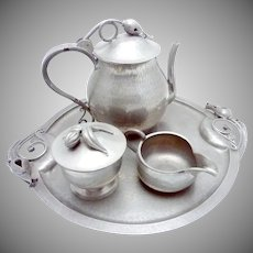 Vintage Serge Nekrassoff Hand Wrought Pewter Large Coffee Tea Set Platter