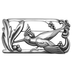Vintage Sterling Silver Art Deco Norseland Coro Large Bird Pin Brooch
