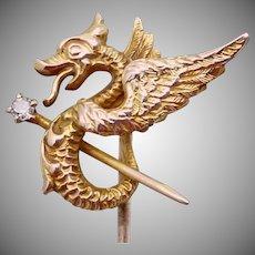 Antique Victorian 10K Gold Diamond Griffin Dragon Stickpin Stick Pin