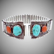 Vintage Zuni Wayne Cheama Sterling Silver Turquoise Coral Watchband