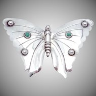 Vintage de La Borda Mexico Mexican Sterling Silver Turquoise Butterfly Pin