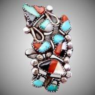 Vintage Zuni Sterling Silver Dancer Kachina Ring Turquoise Coral Onyx MOP
