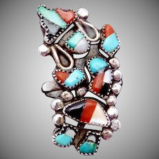 Vintage Zuni Sterling Silver Dancer Kachina Ring Turquoise Coral Onyx MOP