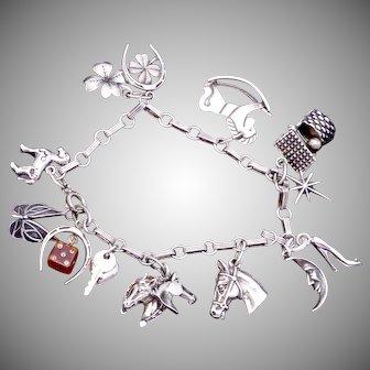 Vintage Beau Sterling Silver Horse Good Luck Dice Theme Charm Bracelet