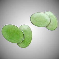 Antique Victorian Sterling Silver Green Enamel Double Cufflinks