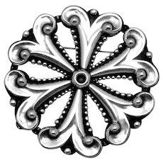 Vintage 1940s Pedro Castillo Taxco Mexico Mexican Sterling Silver Pin