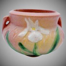 Vintage Roseville Pink Iris Handled Vase American Art Pottery