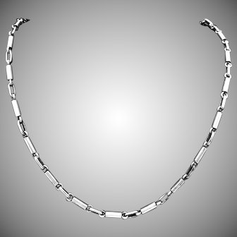 Vintage Jose Luis Flores Taxco Mexican Sterling Silver Chain Necklace