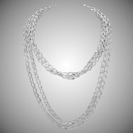 "Vintage Hand Wrought Sterling Silver Chain Necklace 68"" Long"