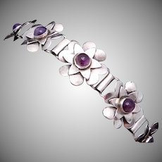 Vintage 1930s Taxco Mexican Sterling Silver Amethyst Flower Bracelet